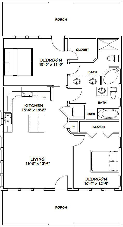 Framing A 10x10 Room: 28X36 HOUSE -- 2 Bedroom 2 Bath -- 1,008 Sq Ft -- PDF