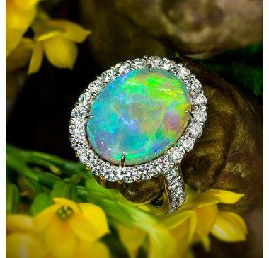 Jeffrey Daniels Ring - Fine Black Opal Ring In Platinum  - Jeffrey Daniels Unique Designs - Collections