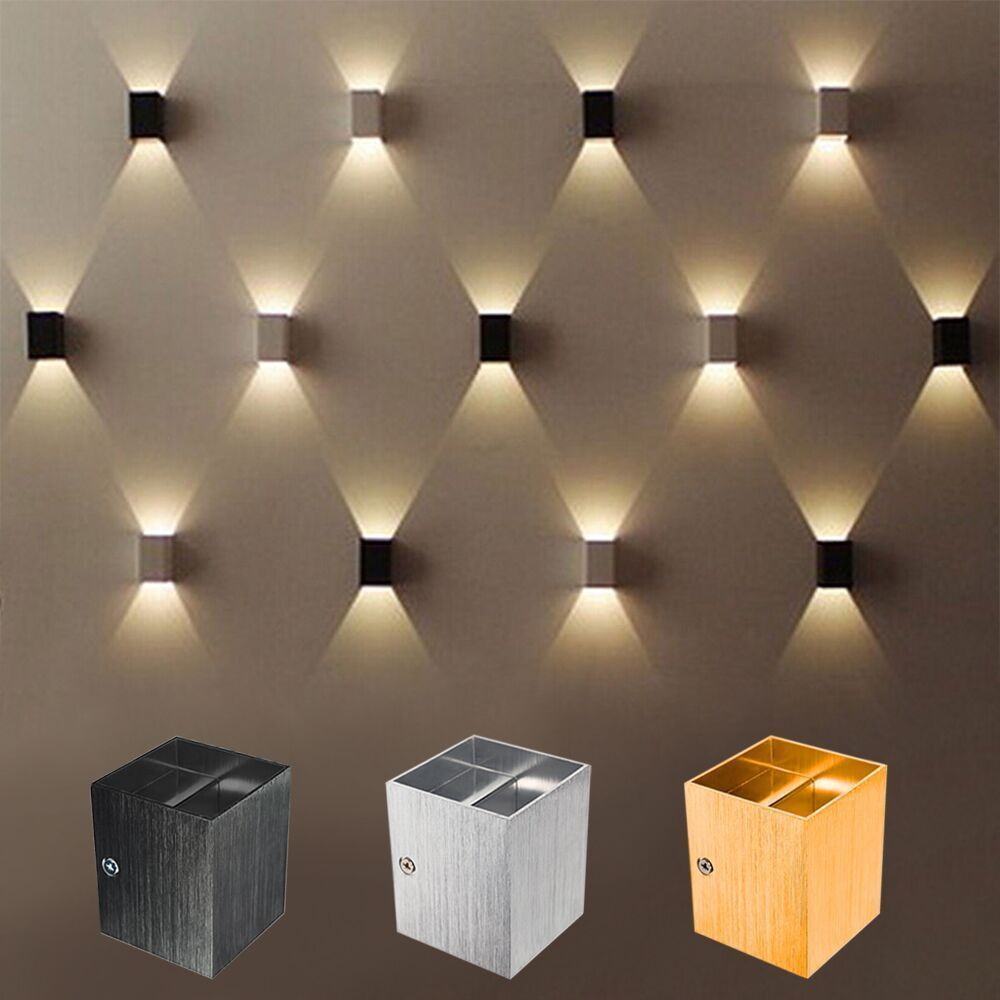 4W LED COB Square Wall Lamp Sconce Up Down Spot Light Fixture