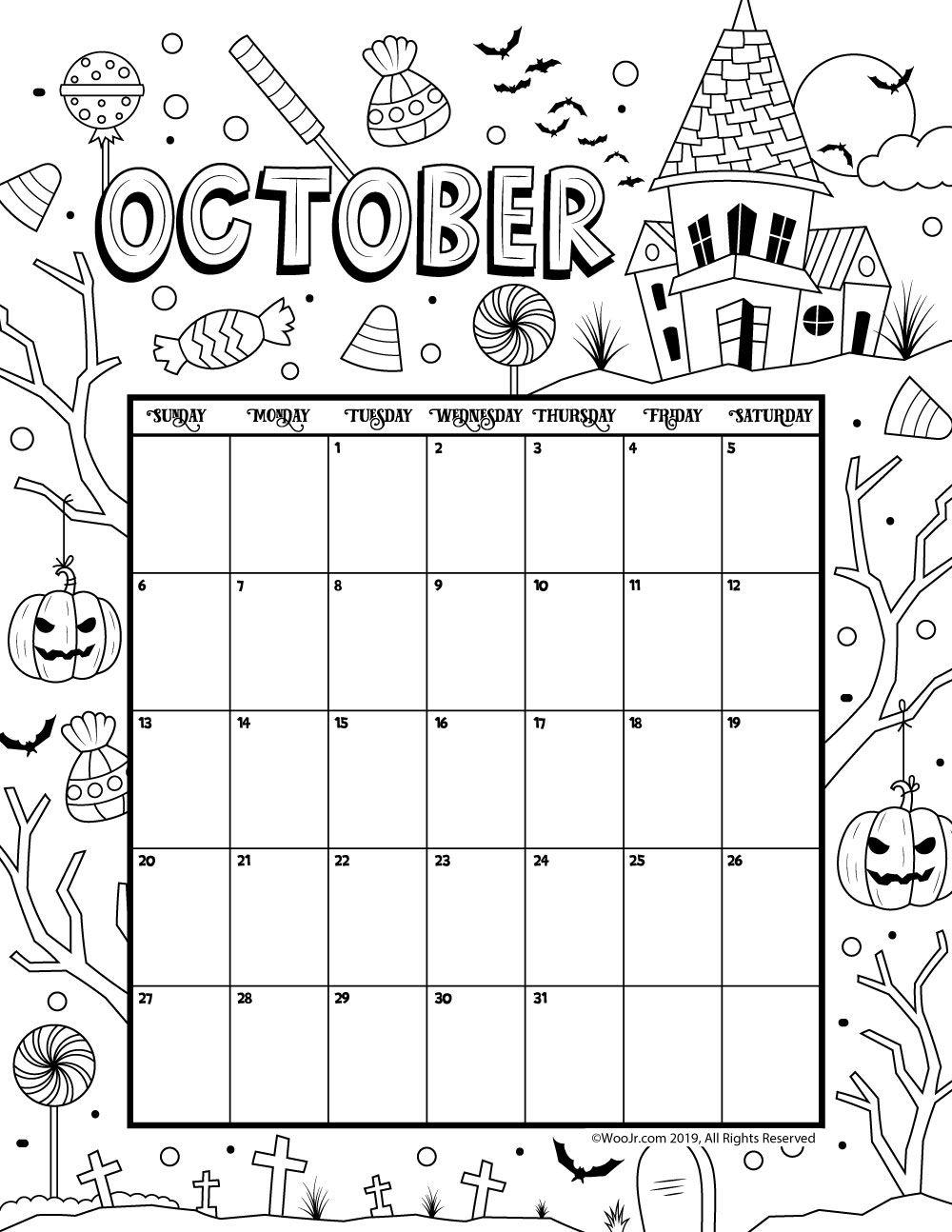 October 2019 Coloring Calendar Planirovshiki Raskraski