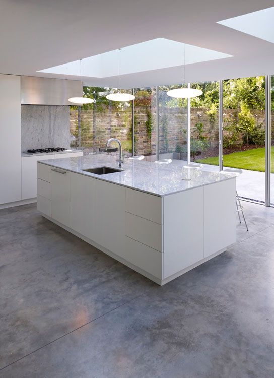 Wall of glass patio doors coffey architects kitchen for Modern concrete floor