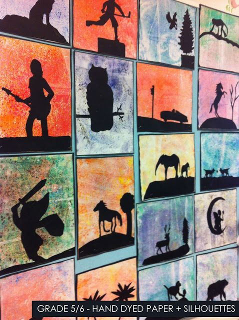 artisan des arts: Hand dyed paper with silhouettes - grade 5