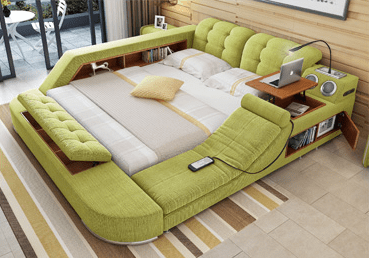 The Ultimate Bed With Integrated Massage Chair, Speakers and Desk
