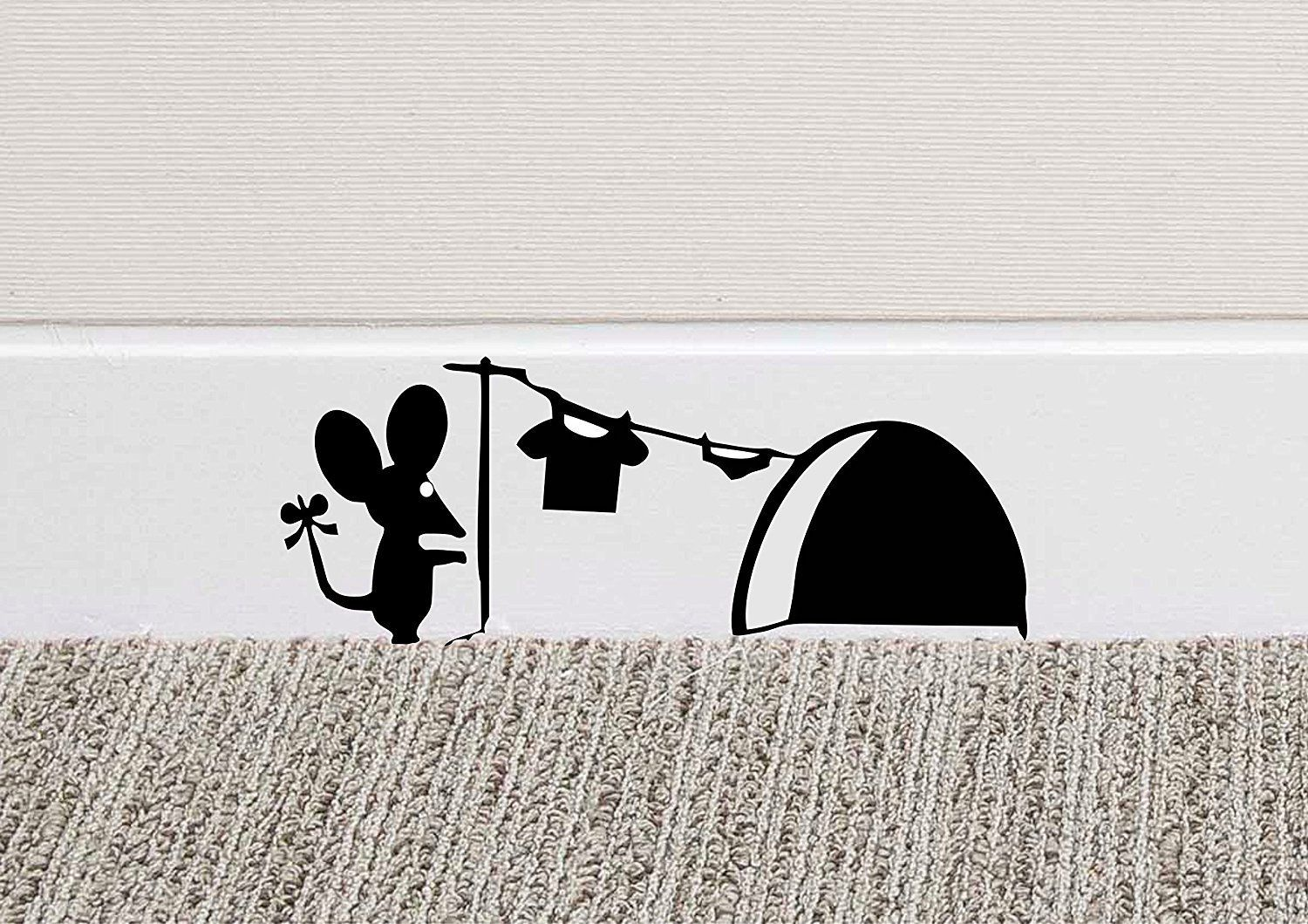 B mouse hole wall art sticker washing vinyl decal mice home