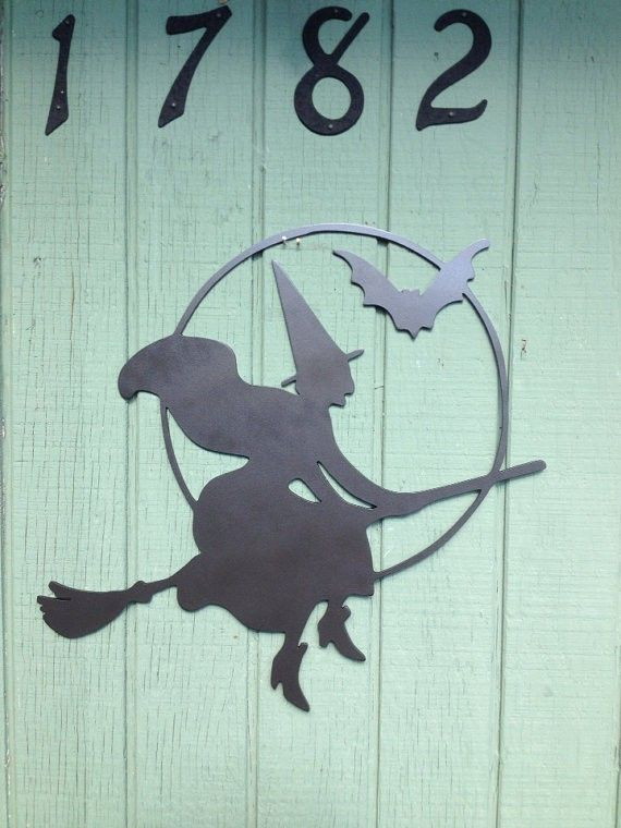 Hand Painted Halloween Sign Witch on a broom Halloween decoration - witch decorations