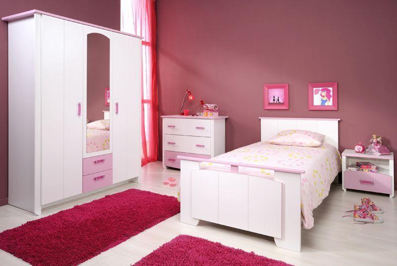 Mädchenzimmer komplett 4-tlg weiß rosa Lilith Kinderzimmer - schlafzimmer komplett weiß