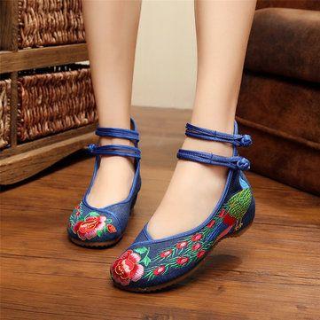Broderie Bordereau De Correspondance Des Couleurs Chineseknot De Fleurs Sur Les Chaussures Plates De Vent National Ob3ilRcb0U
