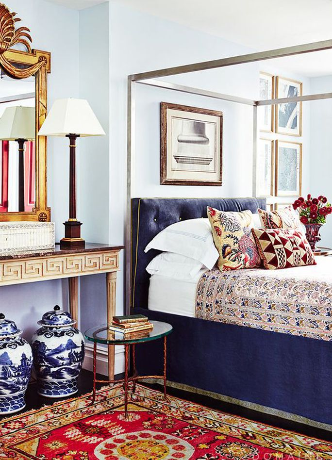 Colorful Ecclectic Bedroom With Texture And Pattern