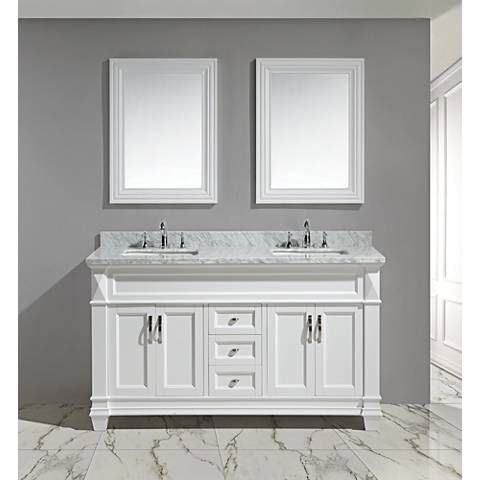Hudson 60 White Carrara Marble White Double Sink Vanity Set