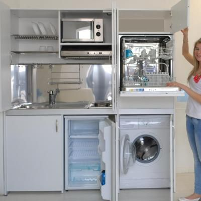 Armoire cuisine compact repr sent e en version avec lave linge et lave vaisselle sylvabelle - Lave linge dans cuisine ...