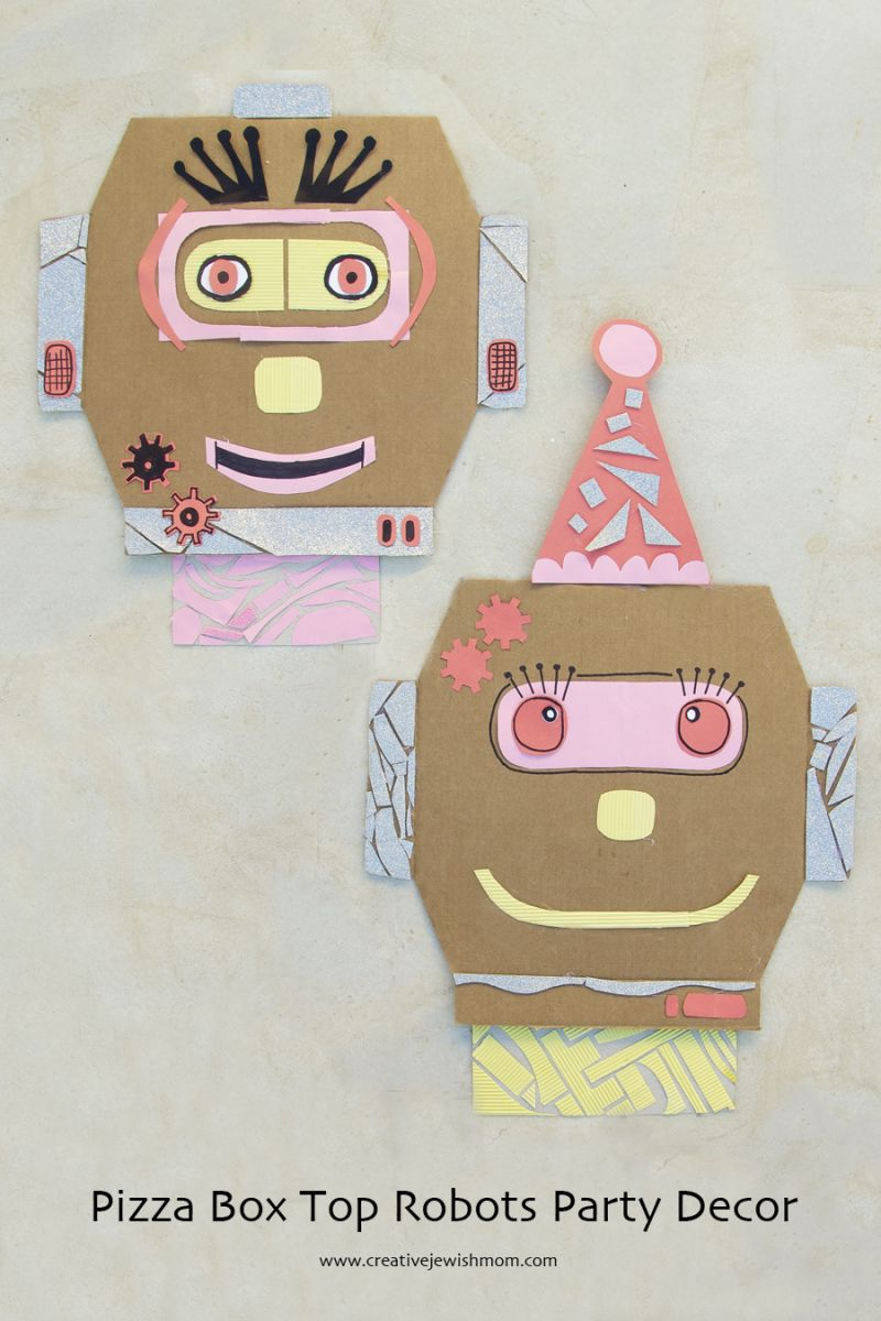 Boxes For Decoration And Crafts Pizza Box Tops Make Great Robots And They Usually Stay Clean