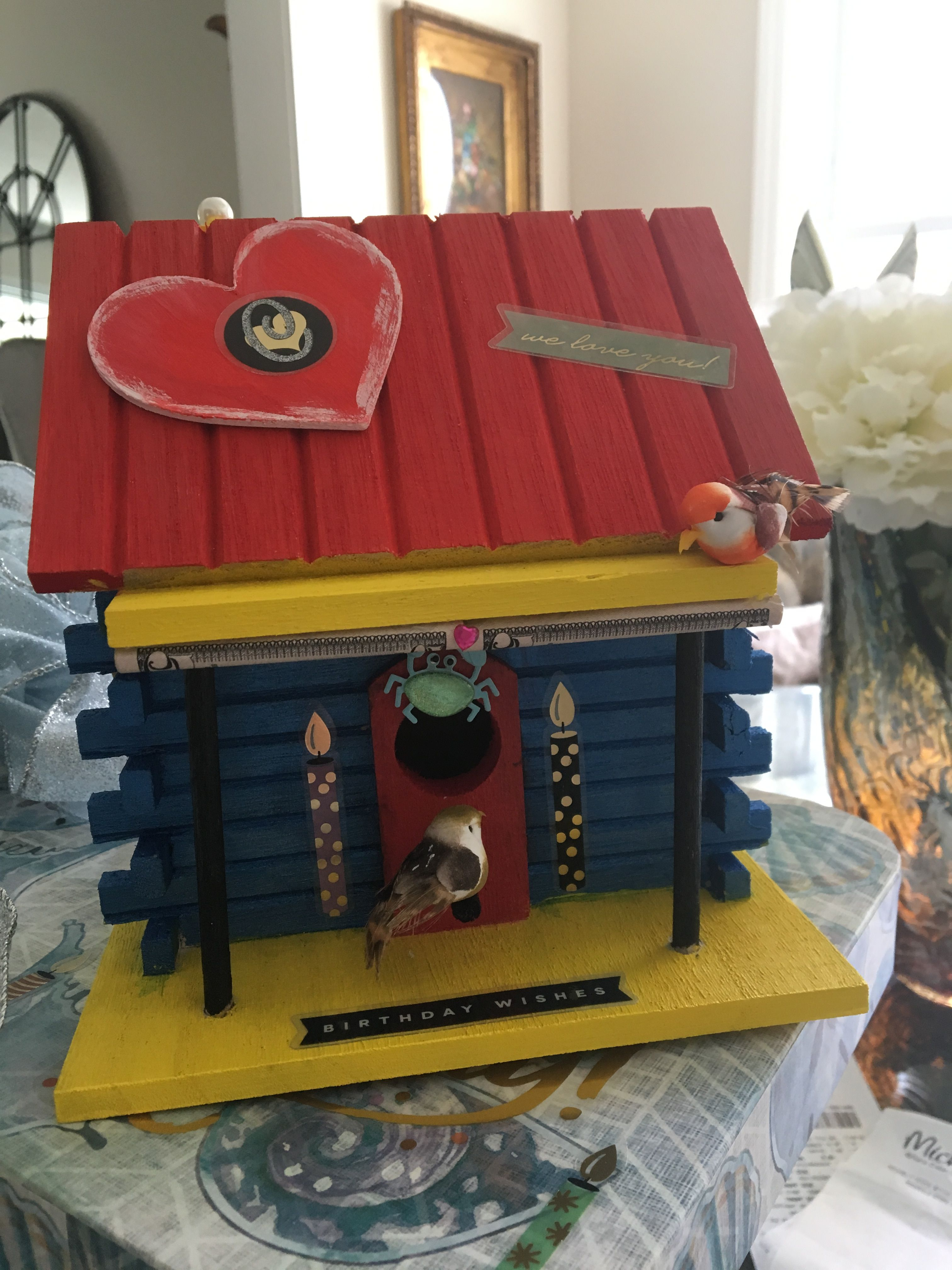 Michaels Log Cabin Birdhouse Hand Painted Embellished With Wooden