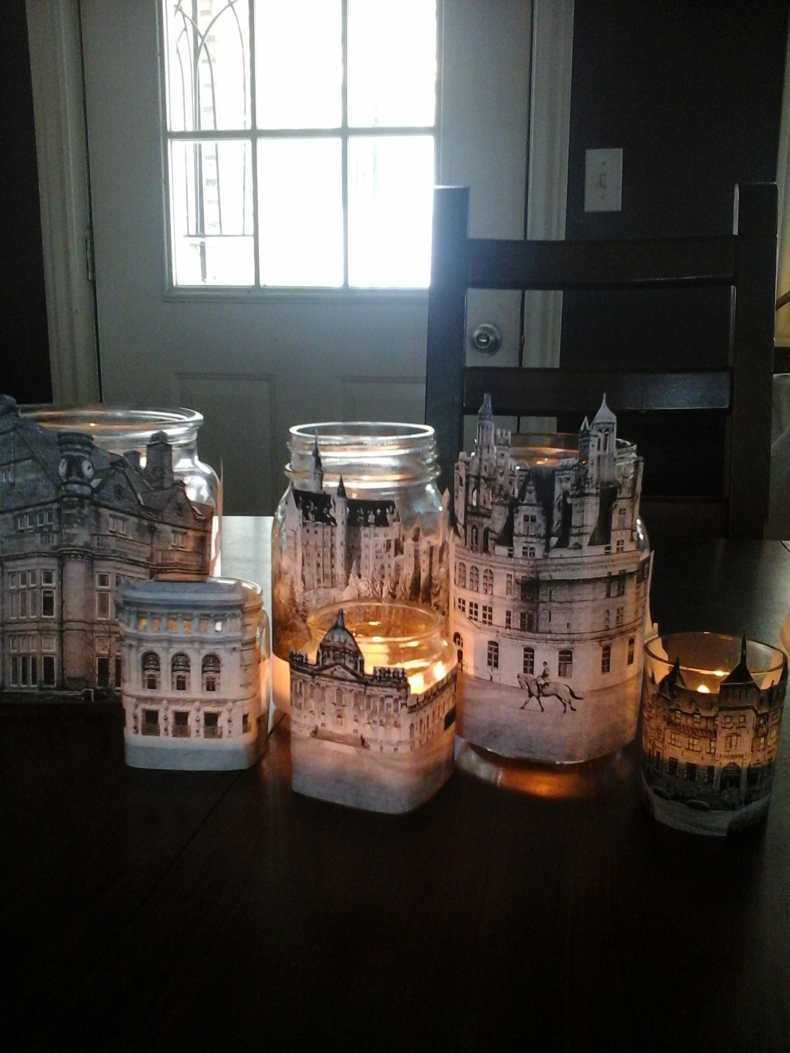 Love the way these turned out.  Found architectural beauties printed them out and taped them to glass containers. I may add some glitter or ribbons to display them.