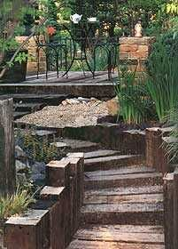 hundreds of inspiring photos and projects using railway sleepers and other landscaping materials
