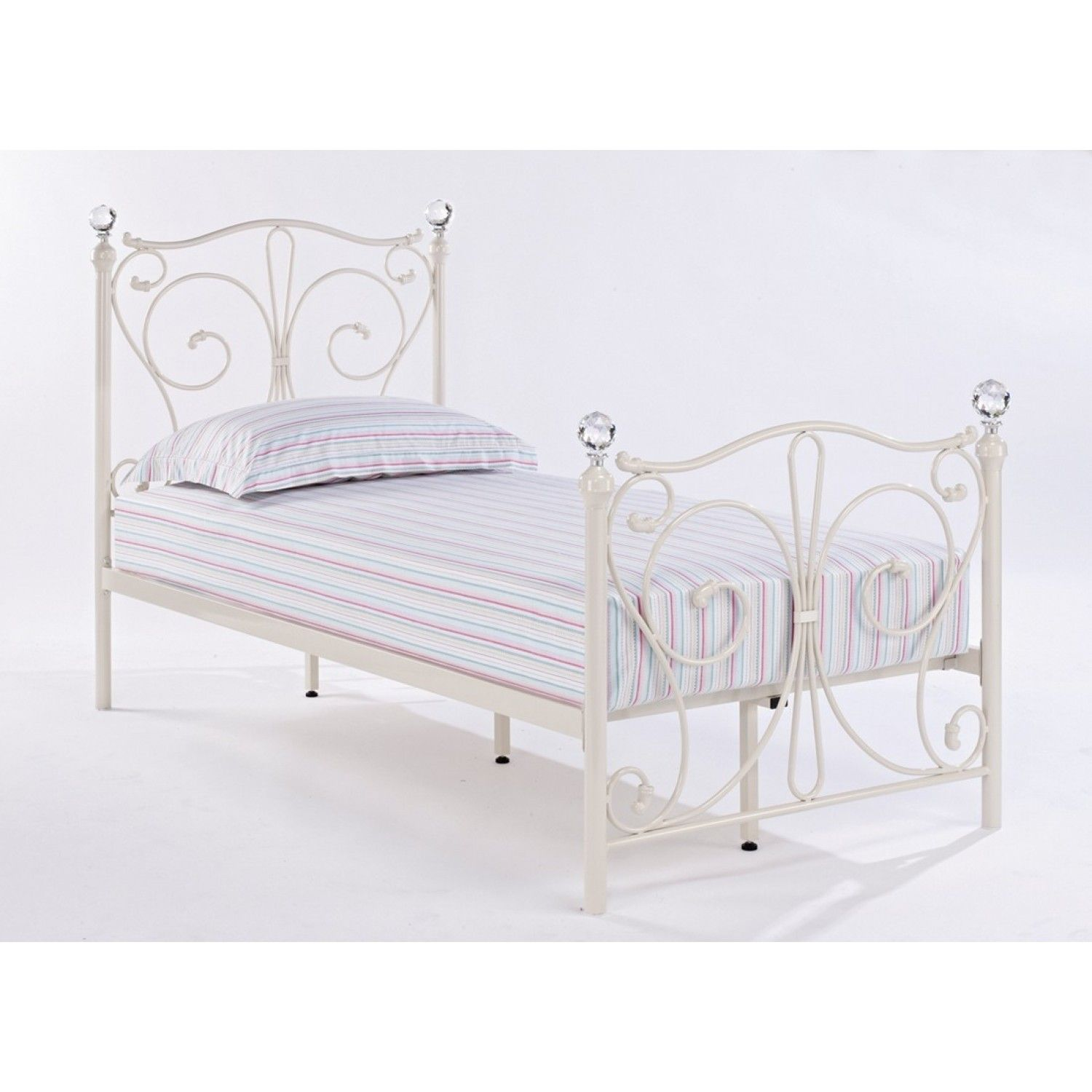 8dfc408e74d2 Bonsoni Foyles Single Metal Bed Frame 3ft White by Lloyd Phillip and  Delric-30
