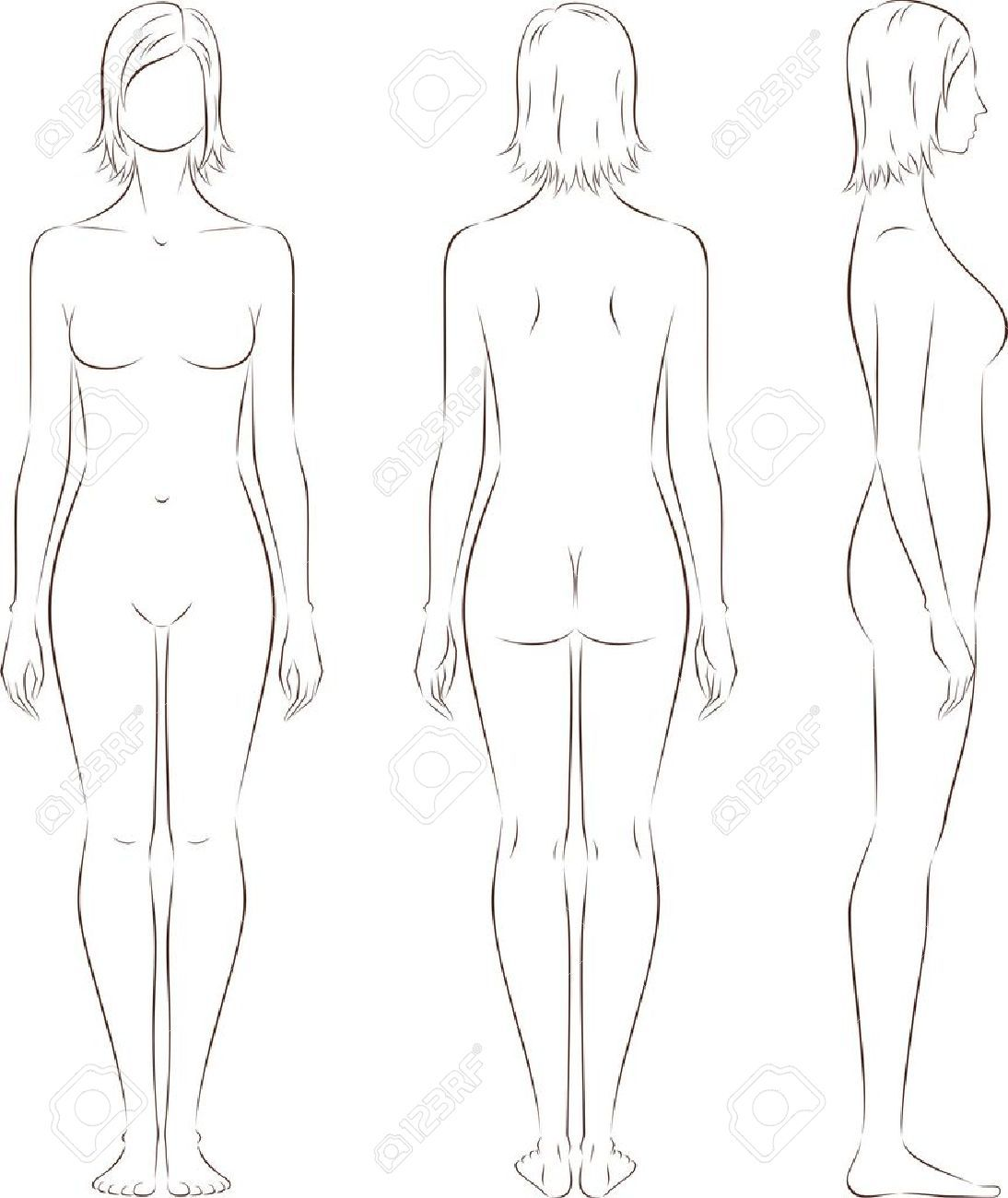 Woman Outline Front And Back Google Search