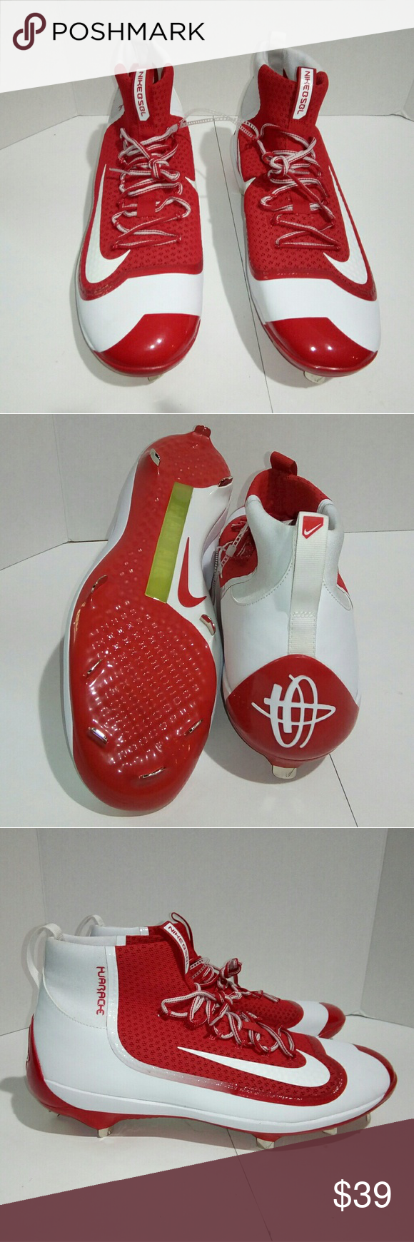 sports shoes c0d13 fb417 N Men s Nike Max Air Huarache 16 Baseball Cleats NEW Men s Nike Max Air  Huarache Sz 16 Baseball ⚾ BSBL White Red Cleats Shoes These shoes are in ...