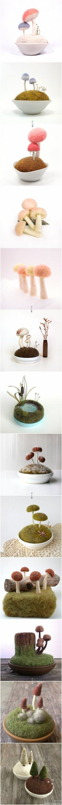 Teacup gardens from felted flowers,mushrooms,toadstools grasses and ponds pretty but minimal,modern contemporary designs ,cute ,japan style kawaii
