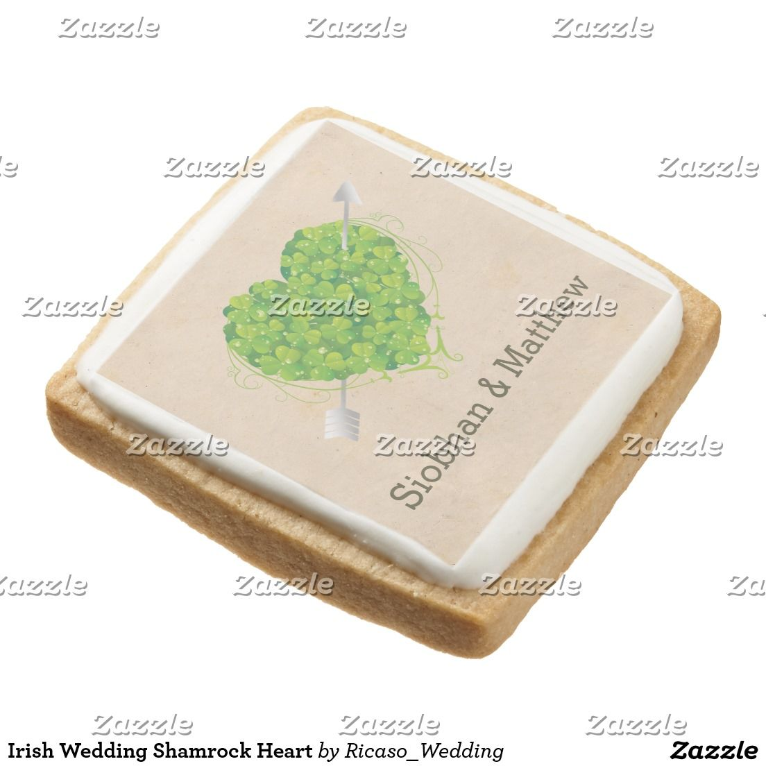 Irish Wedding Shamrock Heart Square Shortbread Cookie | Wedding and ...