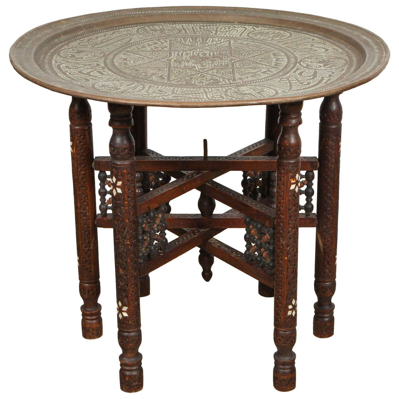 Antique Middle Eastern Brass Tray Table Brass Tray Table Moroccan Table Moorish Furniture [ 1280 x 1280 Pixel ]