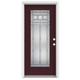 Reliabilt Full Lite Decorative Currant Inswing Fiberglass Entry Door Common 80 In X 36 In Actual 8 Entry Doors Glass Decor Fiberglass Entry Doors