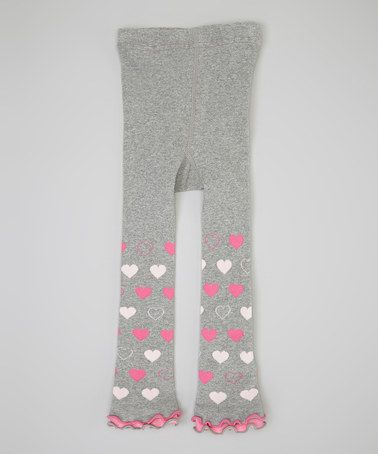 Another great find on #zulily! Heather Gray & Pink Heart Leggings - Infant, Toddler & Girls #zulilyfinds