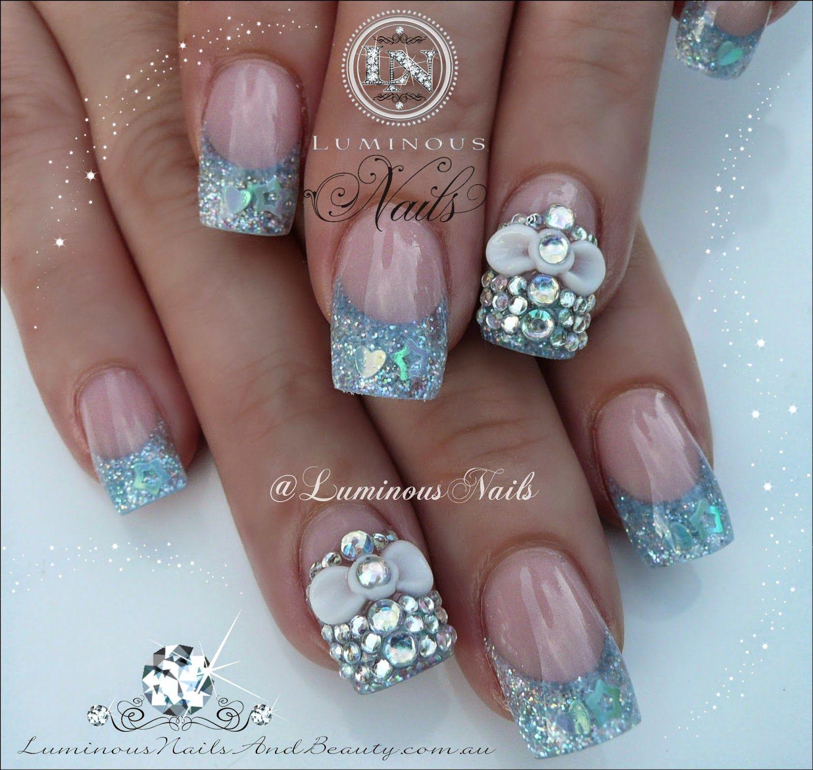 Luminous Nails Baby Blue Nails With 3D Bows & Bling