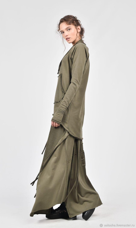 8712a5be008 Длинная юбка из хлопка. Дизайнерская юбка в стиле гранж. Юбка длинная.  Макси юбка