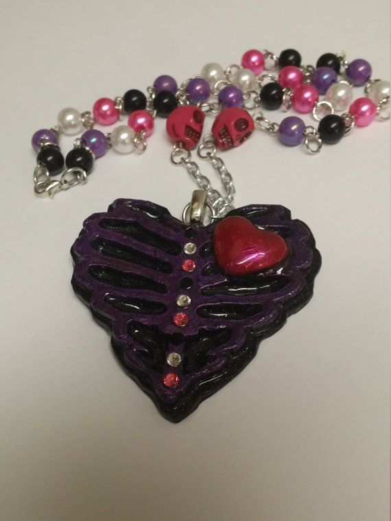 Ribcage Skeleton Heart Beaded Necklace by PsychoBoutique on Etsy