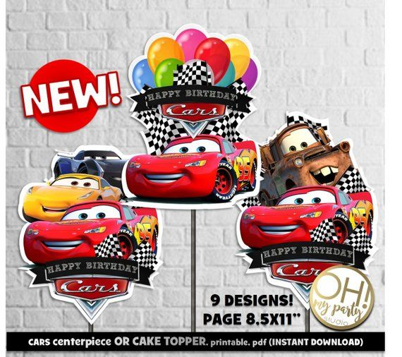 Cars Centerpiece Cake Topper 3 Party Birthday