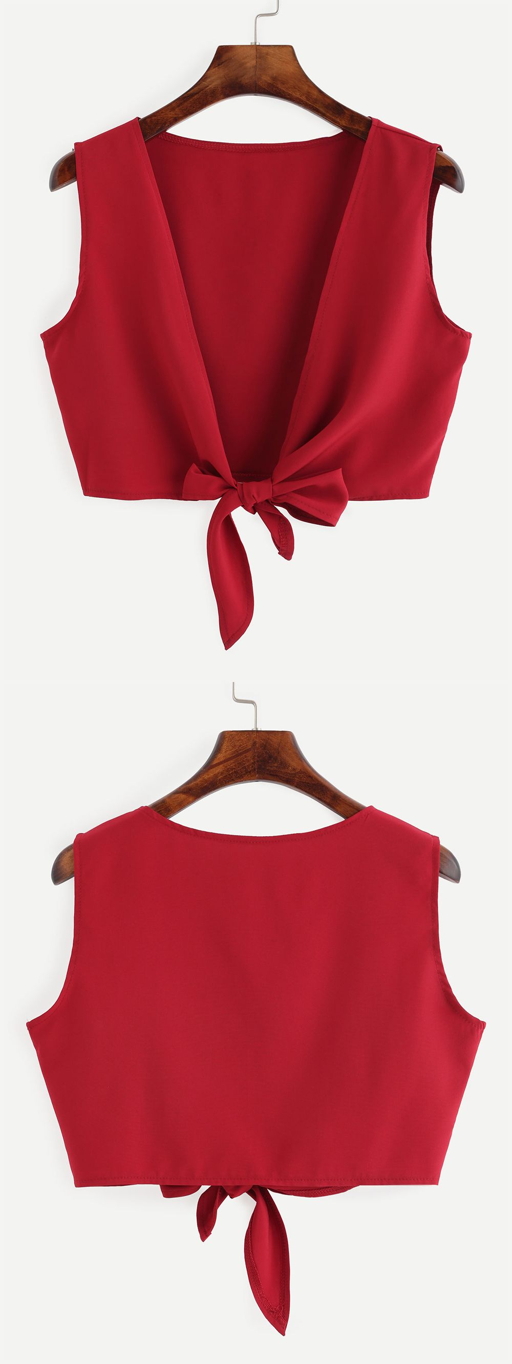 Aubreytate Crop Top With Deep V Back And Knot Make This With Some Of The Blouses Ive Thrown Out Blouse Design Models Blouse Designs Diy Clothes