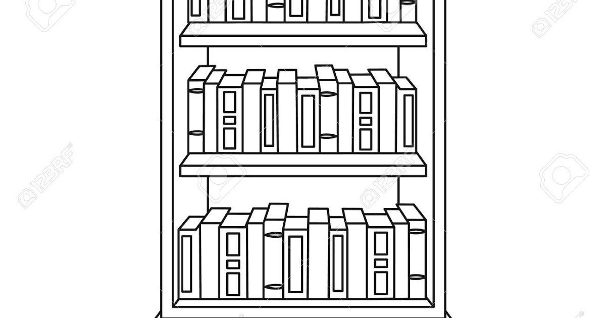 Bookcase With Books Icon In Outline Style Isolated On White Black And White Book Bookcase Book Icons Black And White Books