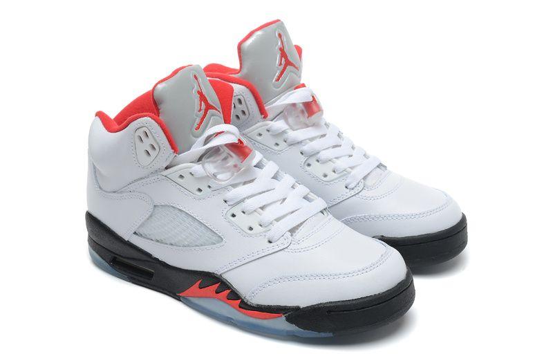 ee1b8baa9a7d Jordan 5 White Black Fire Red Retro Jordans For Sale