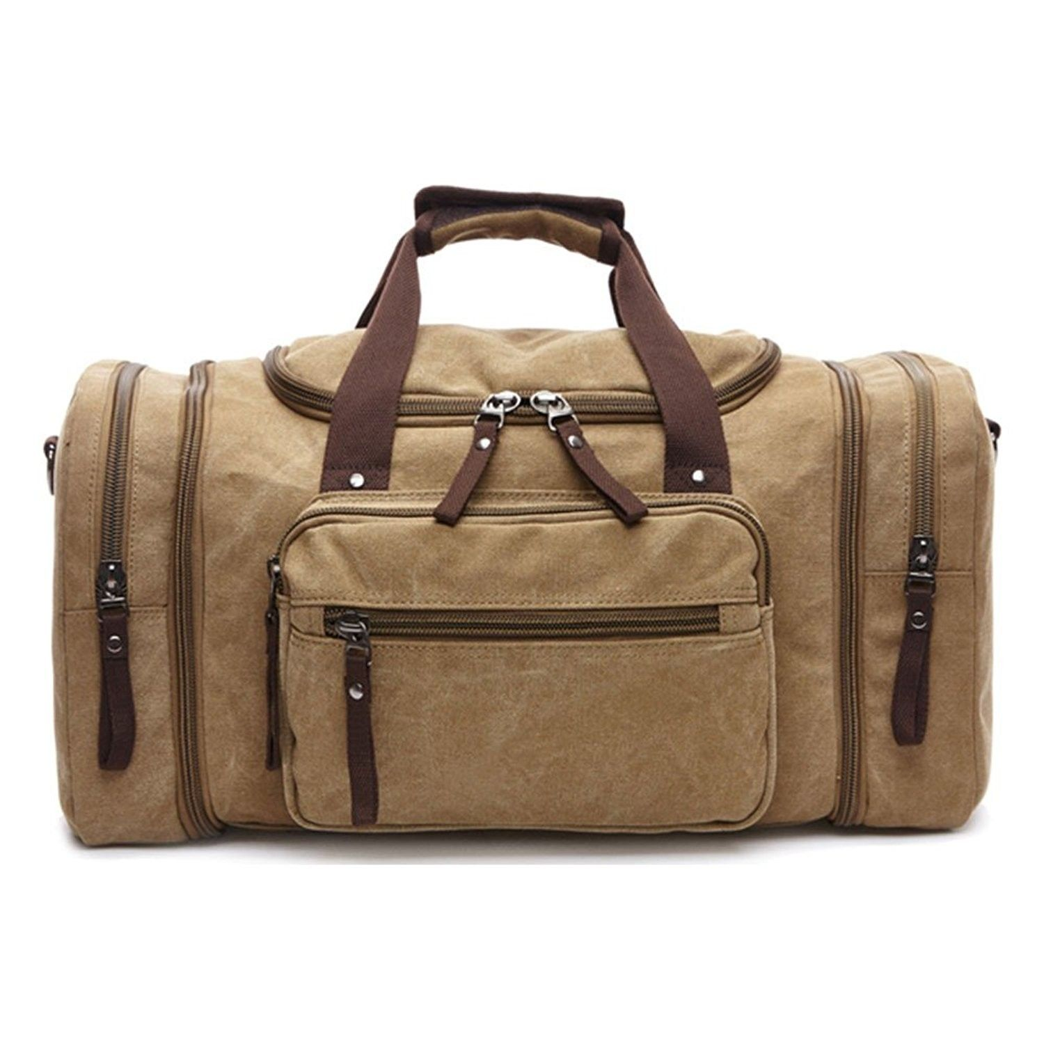 Canvas Weekend Tote Bag Extra Large Weekender Luggage Travel Duffle ... e32dd0fcda042