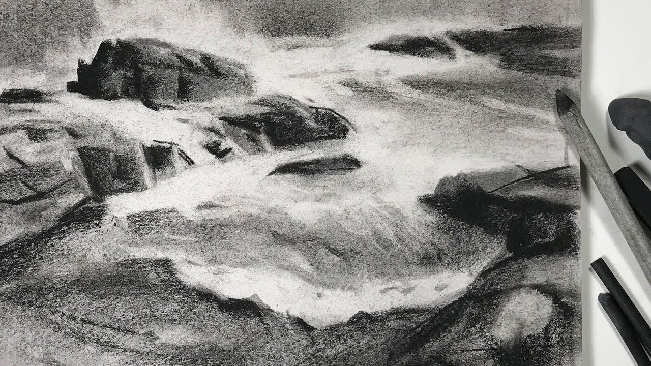 Charcoal Drawing Study Of Seashore Landscape For Watercolor Painting Drawing Scenery Easy Charcoal Drawings Watercolor Painting Youtube