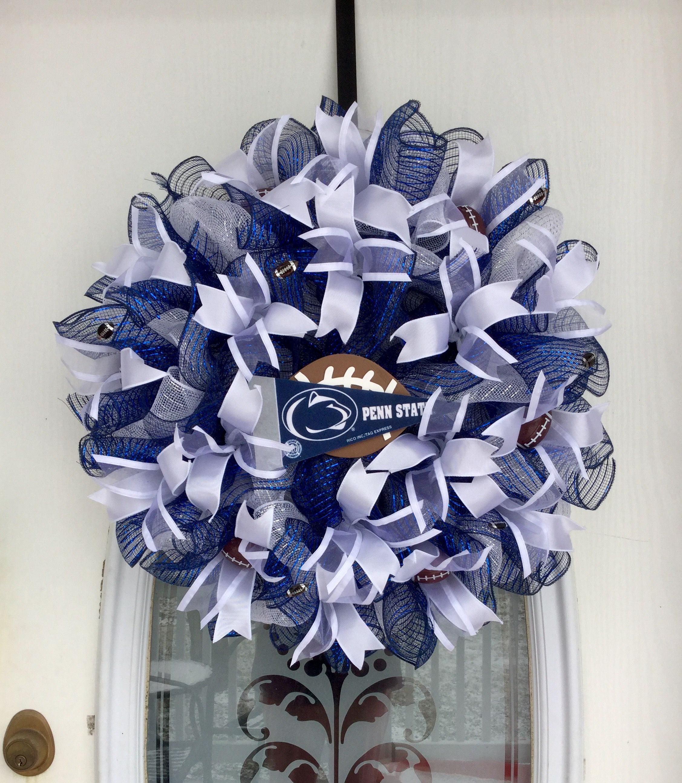 22 White And Navy Blue Deco Mesh Penn State Football Wreath