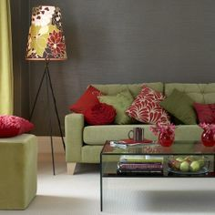 Sage Green Couch And Grey Walls Gray Walls Sage Couch Pops Of Red Home Decor Living Room Colors Living Room Green Living Room Red