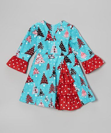 Teal & Red Christmas Tree A-Line Dress - Toddler & Girls by Beary Basics on #zulily today!