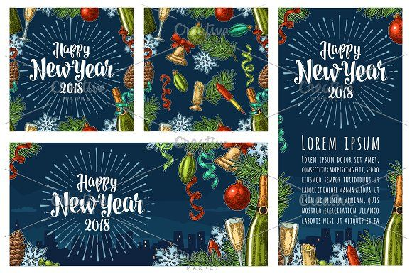 Poster, pattern Happy New Year by MoreVector on @creativemarket
