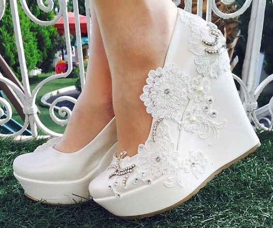 16 White Wedge Wedding Shoes With Brilliant Details Brides