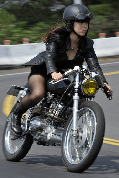 Asian girl with motorcycle