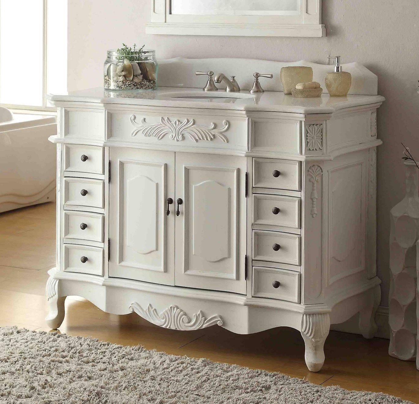 48 Benton Collection Antique White Morton Bathroom Sink Vanity