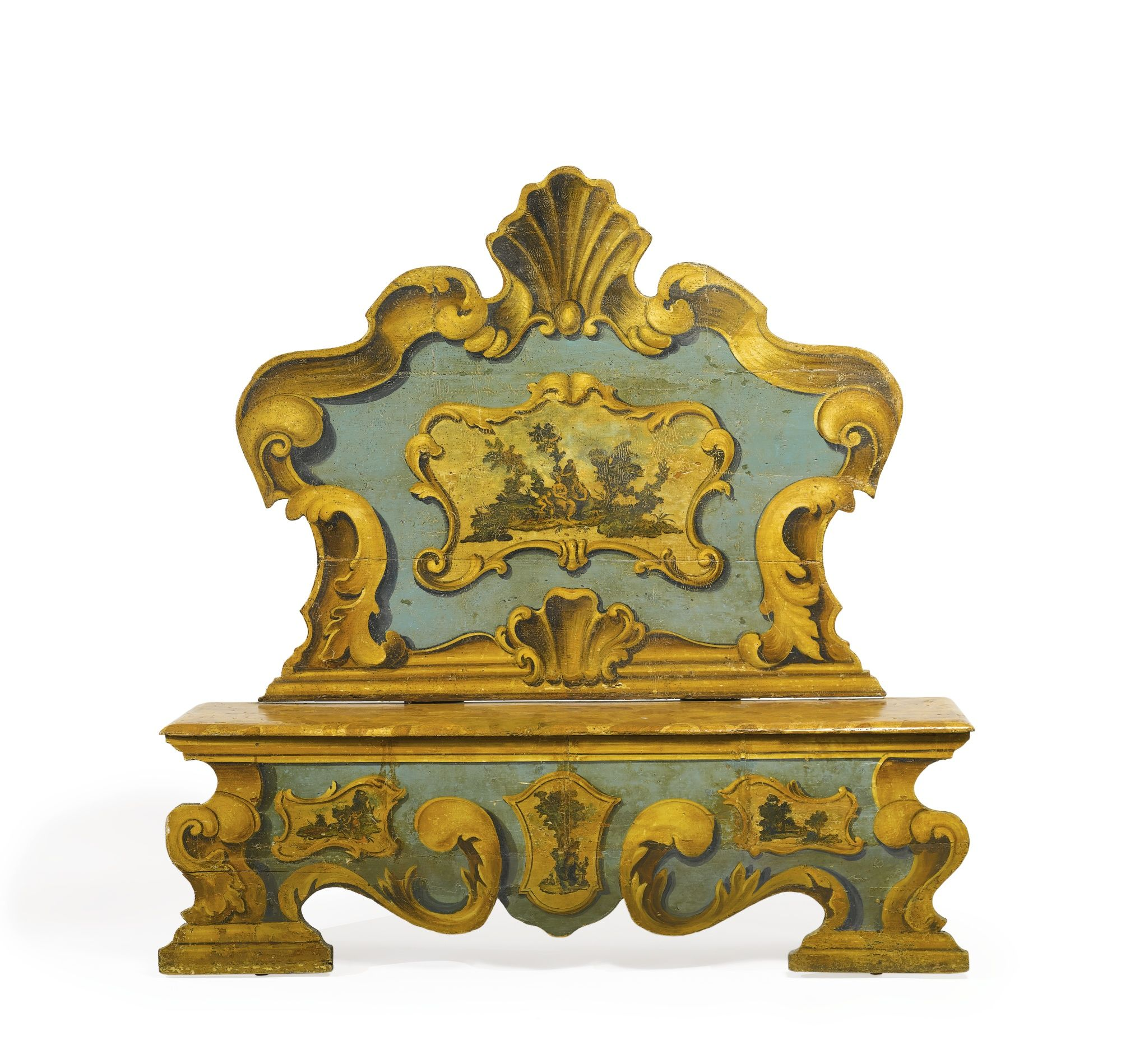 An Italian Baroque lacca povera and polychrome-decorated bench 18th ...