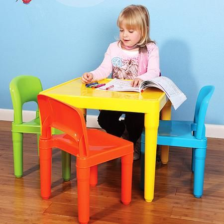 Tot Tutors Kids Plastic Table And  Chairs Set Choose Your Color - Walmart kids table and chair set