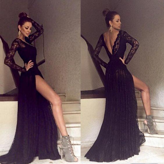 black prom dress, long prom dress, lace prom dress, side slit prom ...