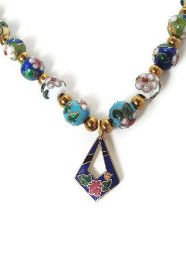 Cloisonne Beaded Pendant Necklace Toggle Clasp  by MyEclecticCache, $5.00