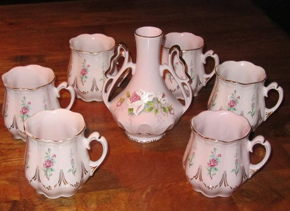 Czech Pink Porcelain Hand Painted 7pcs Set Haas by JuveloVintage.com