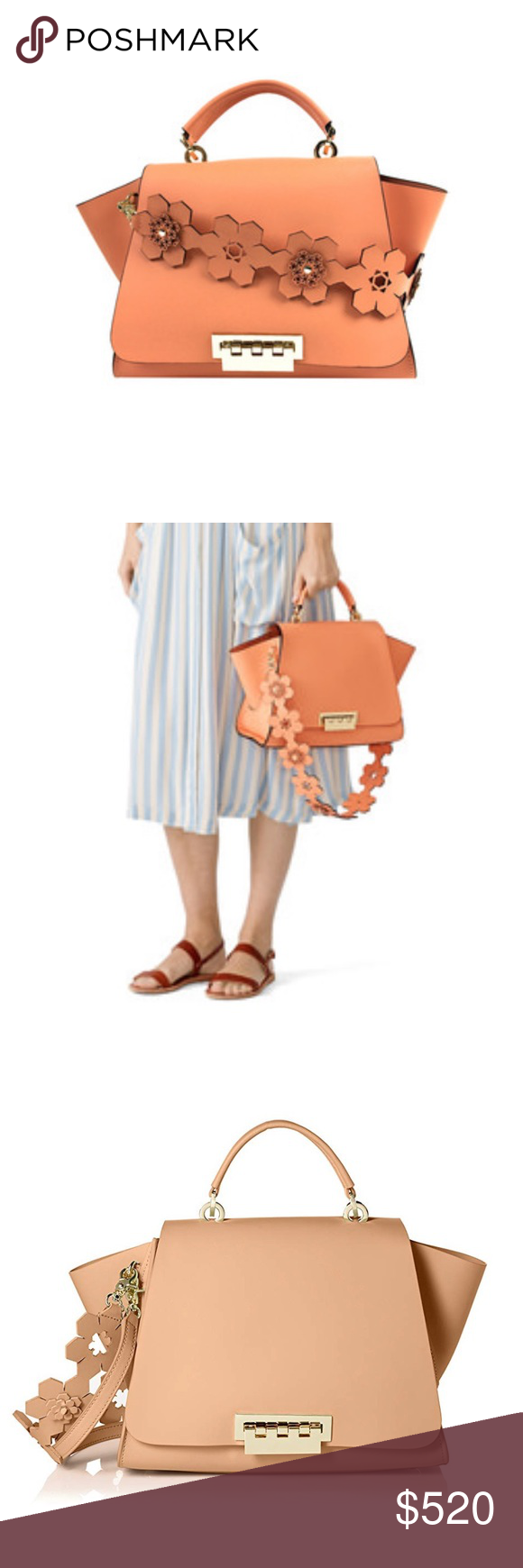 Zac Posen Coral Eartha Iconic Soft Top Handle Bag Never