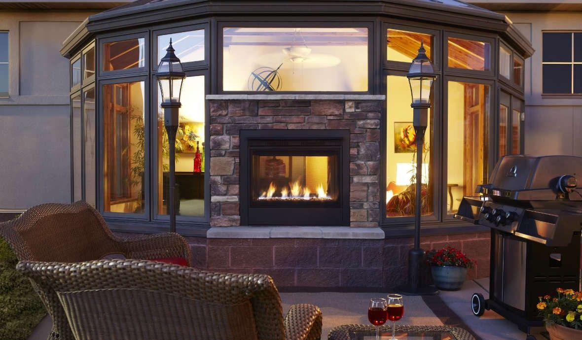Twilight Ii Modern Indoor To Outdoor See Through Gas Fireplace