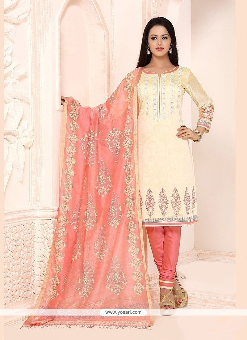Majesty cream churidar designer suit in my kinda girl